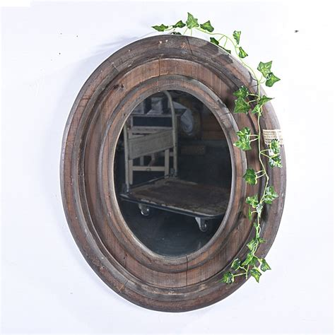 rustic farmhouse distressed oval wooden wall mirror buy wall mirror wooden mirror oval