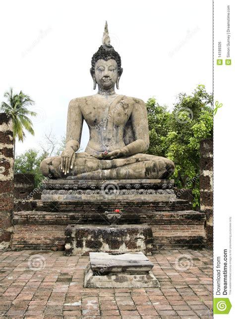 big seated buddha statue sukhothai wat thailand royalty  stock image image