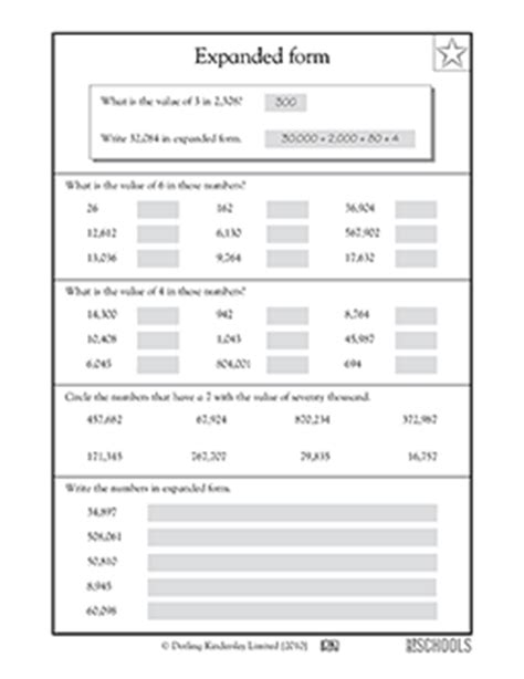 4th grade math worksheets expanded form 2 greatschools