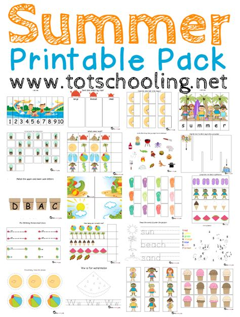 Free Summer Printable Pack For Toddlers  Prek  Totschooling  Toddler, Preschool, Kindergarten
