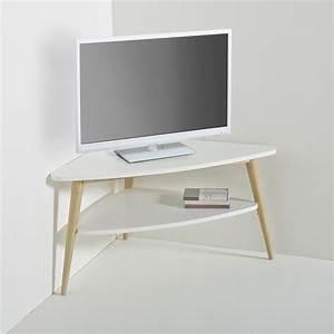 Petit Meuble D Angle : meuble tv d 39 angle vintage double plateau jimi blanc la redoute interieurs la redoute ~ Preciouscoupons.com Idées de Décoration