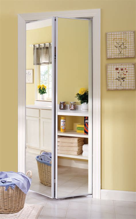 Bifold Closet Door Opening by Sliding Bifold Door With Mirror Insert Slimline Frame