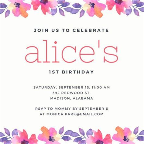 birthday invitation email template fresh st birthday