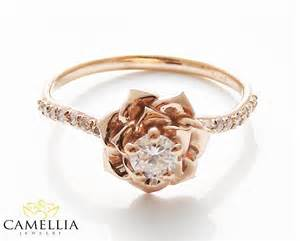 gold engagement rings etsy 14k gold engagement ring by camellia jewelry gold flower ring flower