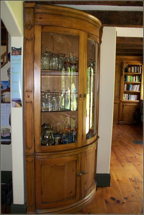 Oak Corner Curio Cabinet Curved Glass Bruin Blog