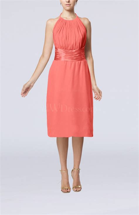 Coral Simple Halter Backless Chiffon Knee Length Cocktail Dresses   UWDress.com