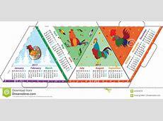 Calendario Triangular De La Disposición A4 Para El Gallo