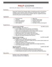 project manager resume template unforgettable technical project manager resume exles to stand out myperfectresume