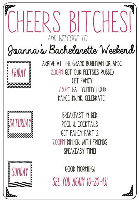 Bridal Shower Program Bridal Shower Itinerary Template Ba 25 Best Ideas About Bachelorette Weekend On