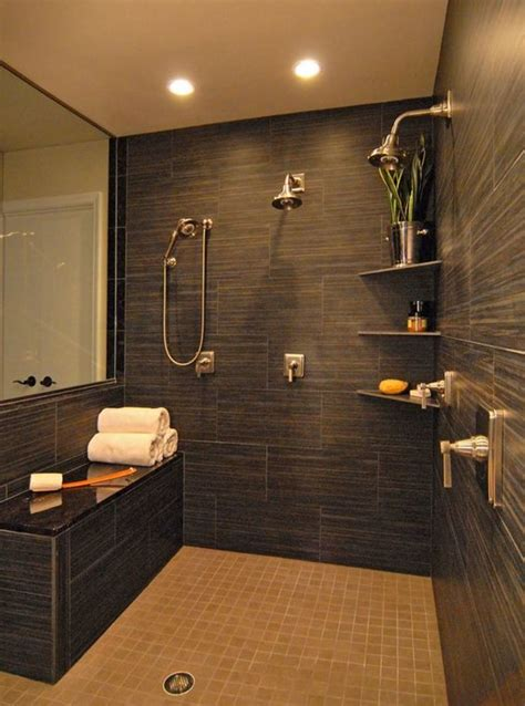 double shower granite  benches  pinterest