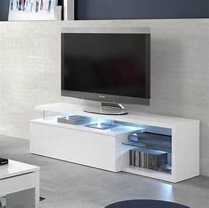 Meuble Tv Banc : meuble tv quintana blanc brillant ~ Teatrodelosmanantiales.com Idées de Décoration