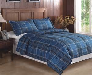 3 piece blue plaid flannel reversible down alternative comforter set queen full ebay