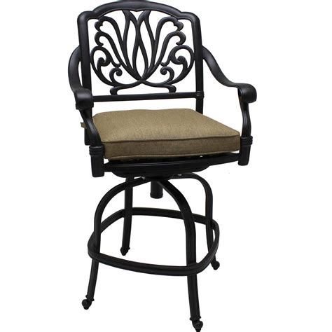 wrought iron black swivel patio bar chairs exterior sling outdoor swivel bar stool with cast iron