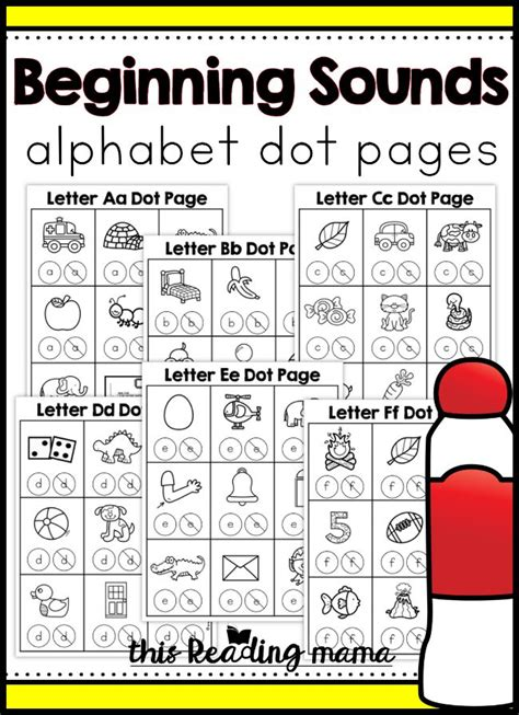 beginning sounds alphabet dot pages  reading mama