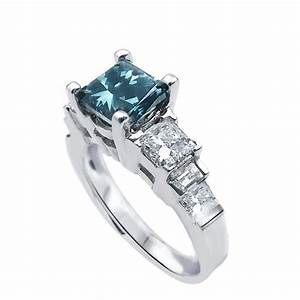blue and white diamond engagement ring with staircase With blue and white diamond wedding rings
