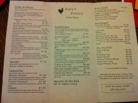 the pantry menu katy s pantry menu menu for katy s pantry enid enid