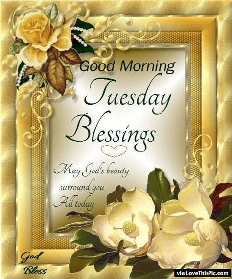 Good Morning Tuesday Blessings May Gods Beauty Surround
