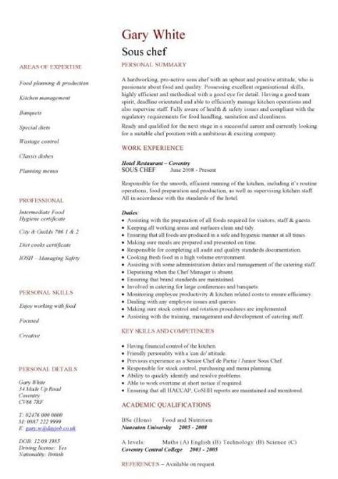 Exle Chef Cv by Hospitality Cv Templates Free Downloadable Hotel