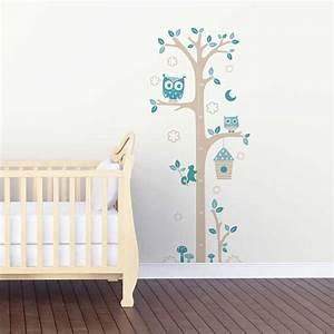 "Sticker mural ""Toise Chouettes Gris et bleu"" (motif bébé garçon) pour chambre bébé garçon"