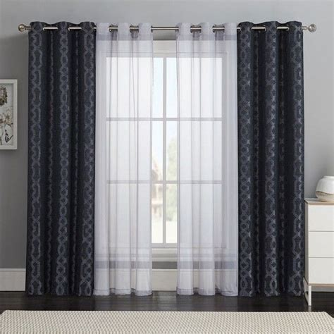 Geometric Pattern Sheer Curtains by Classics 4 Pc Barcelona Layer Curtain Set