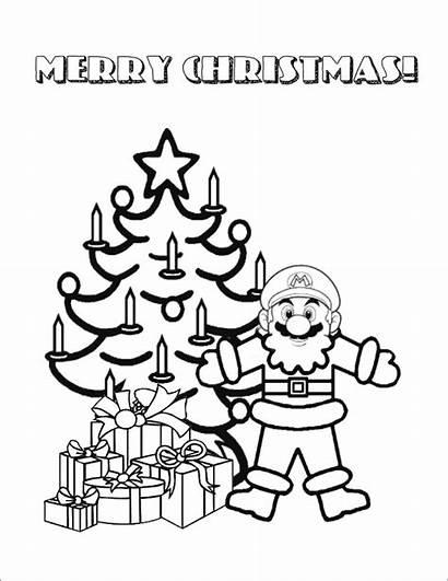 Mario Coloring Pages Super Christmas Printable Santa
