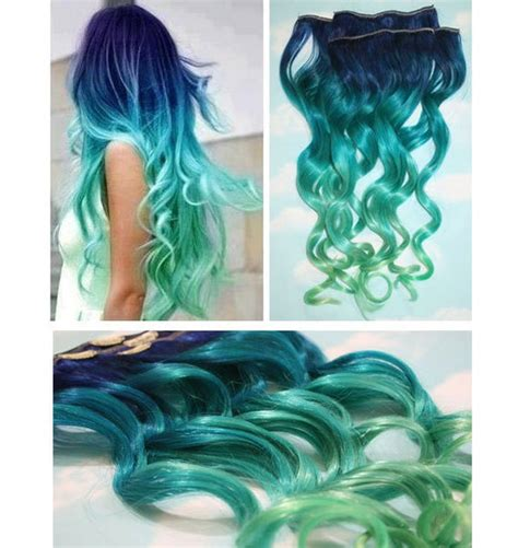 Blue Lagoon Blue Green Ombre Dip Dyed Human Hair Extensions