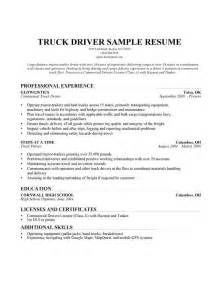 resume for applying driver position cdl truck driver resume