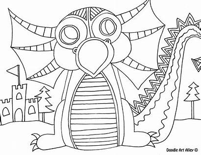 Dragon Coloring Doodle Pages Alley Mythical Creatures