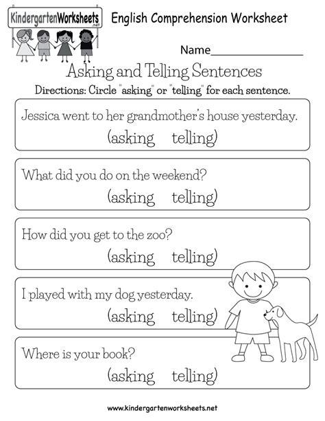 English Comprehension Worksheet  Free Kindergarten English Worksheet For Kids