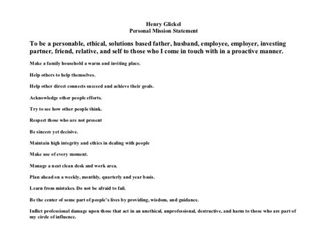 profesional personal mision statement personal mission statement