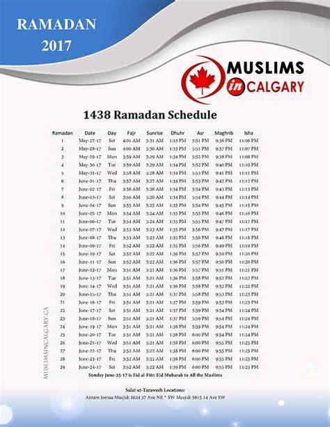 prayers times muslims calgary