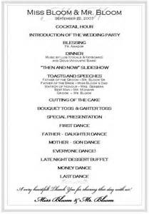 wedding reception template itinerary for wedding reception best agenda templates