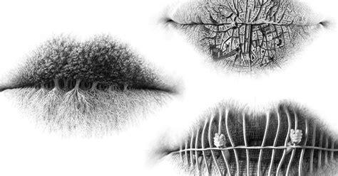 surreal pencil drawings  lips  christo dagorov colossal