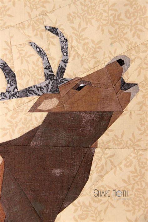 roaring deer quilt block favequiltscom