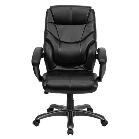 flash furniture high back black leather overstuffed