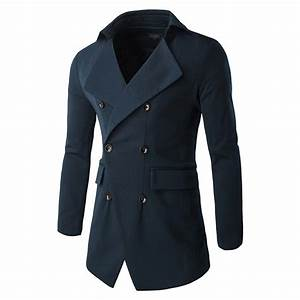 Mens Long Overcoat Jacket Double Breasted Coat Parka ...