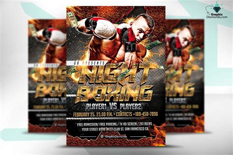 night boxing flyer template flyer templates creative