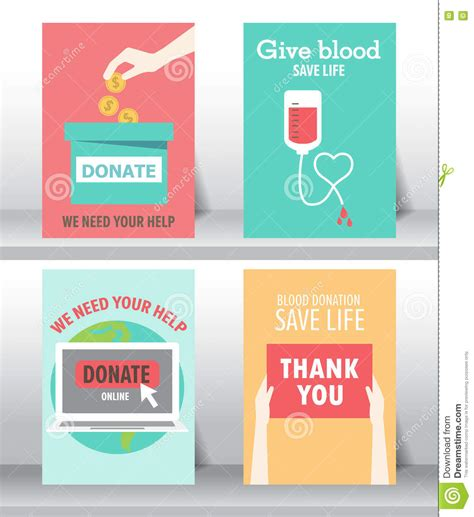 charity  donation poster set stock vector image