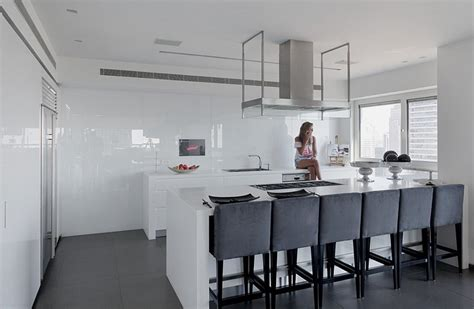 white and gray kitchen modern white and gray apartment interior design by Modern