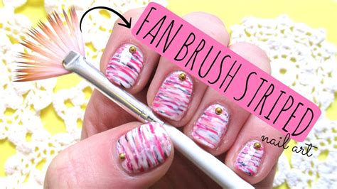 * Fan Brush * Striped Nail Art Tutorial