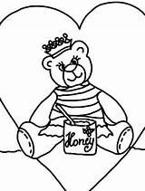 Honey Coloring Bee Bear Queen Eat Coloringsky sketch template