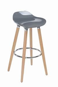 Tabouret Bar Bois : tabouret de bar avec pieds en h tre naturel assise coloris gris neuf ebay ~ Teatrodelosmanantiales.com Idées de Décoration