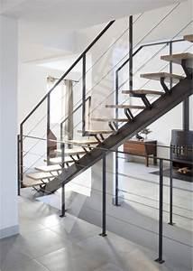 Escalier Fer Et Bois : escalier droit m tal et bois au design contemporain esca ~ Dailycaller-alerts.com Idées de Décoration