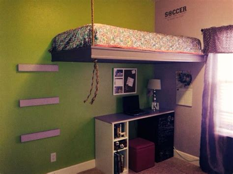 suspended bed diy loft bed build  loft bed dorm room