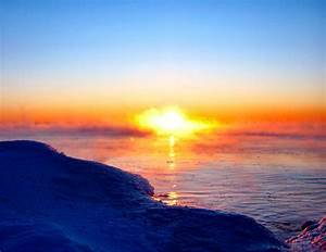 Soul Amp  Golden Sunrise In Mist On Lake Michigan With Shore Ice On The Coldest Day In Milwaukee