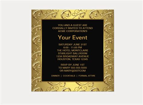 gold and black corporate event party invitation