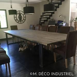 meuble industriel table de salle a manger bois et acier With table salle a manger industriel pour deco cuisine