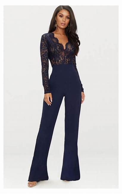 Jumpsuit Prom Sleeve Lace Classy Formal Jumpsuits