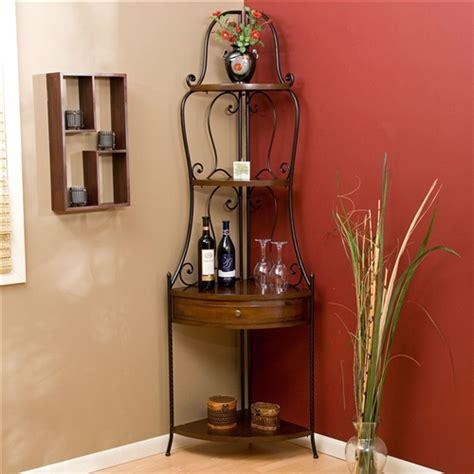space saving corner bakers rack  wrought iron frame fastfurnishingscom