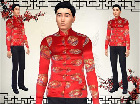 Male chinese jacket by JinxTrinity at TSR » Sims 4 Updates